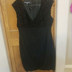 Lace and Pleated  Black Dress